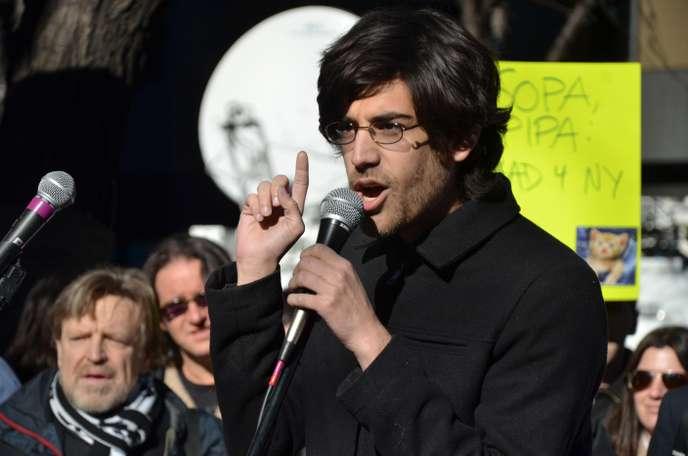 Aaron Schwartz pendant les manifestations contre SOPA