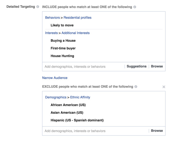 annonces publicitaires dicrimatoires de Facebook